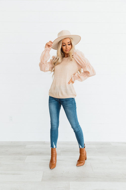 The Edith Contrast Sleeve Sweater in Apricot