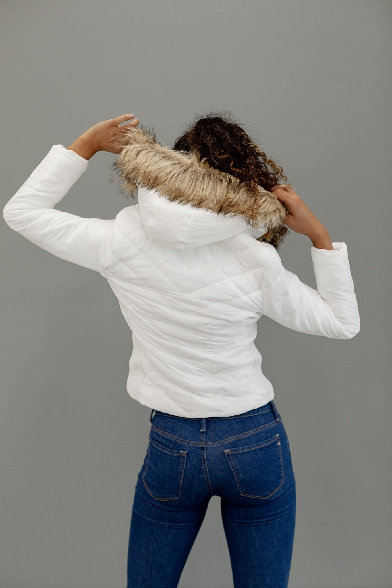 The Ella Faux Fur Jacket in White
