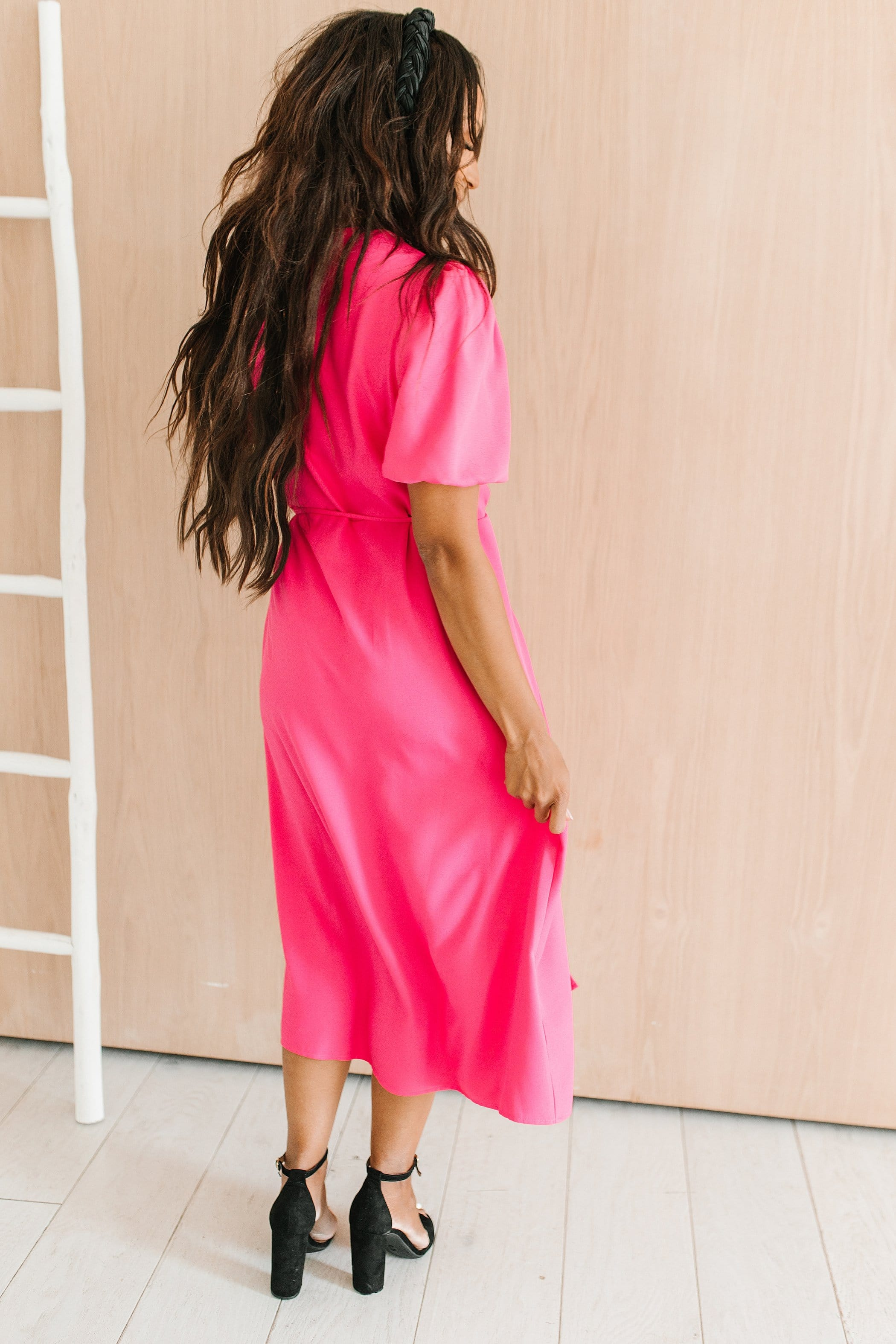 The Elle Wrap Midi Dress in Hot Pink
