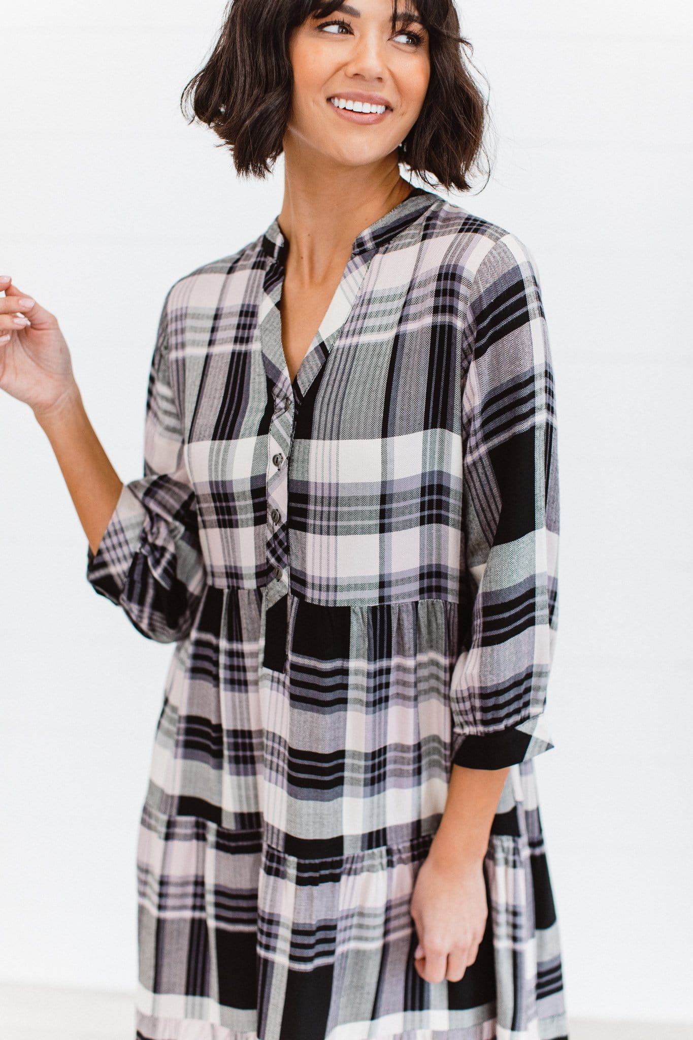 The Elodie Plaid Dress in Black with Pink
