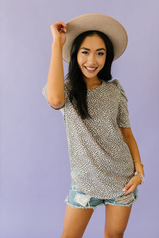 The Sattley Animal Print Top in Taupe