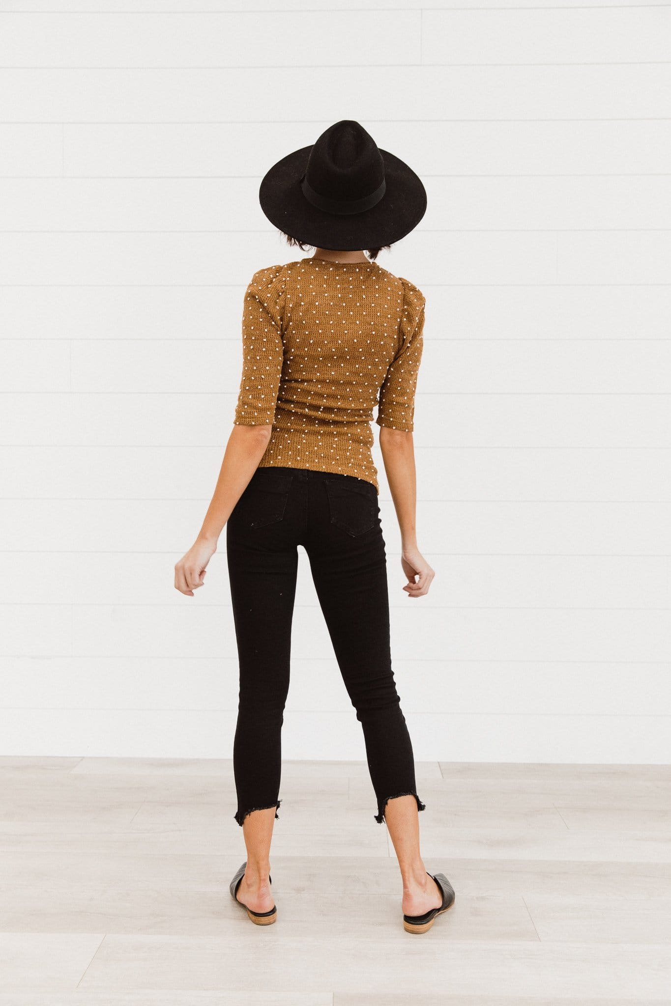 The Fallon Pom Pom Top in Camel