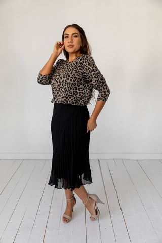 The Kiryas Puff Sleeve Top in Animal Print