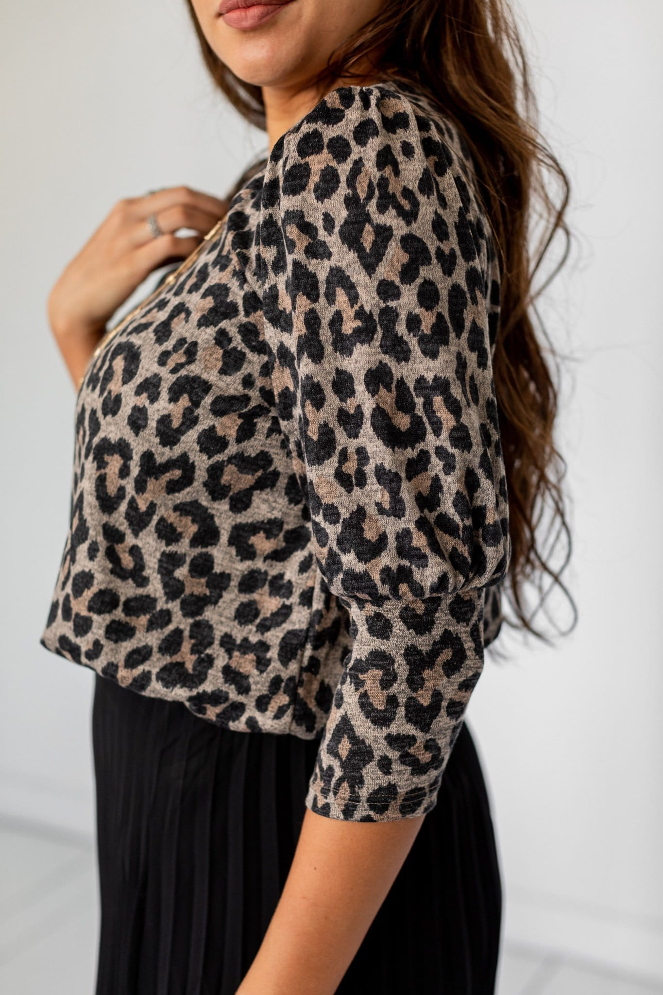 The Ferron Bubble Sleeve Top in Animal Print