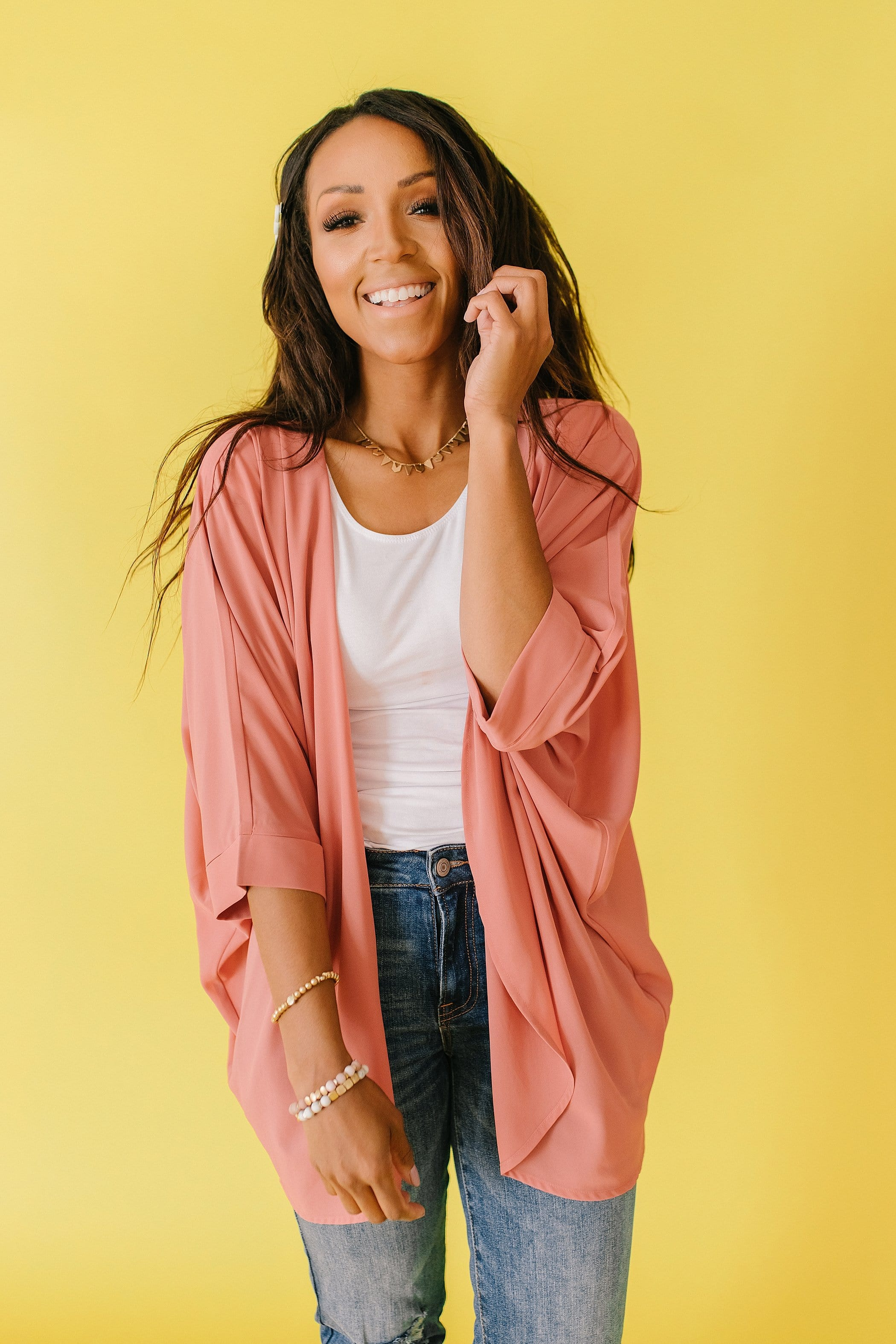 The Ferryn Chiffon Cardigan in Ash Rose