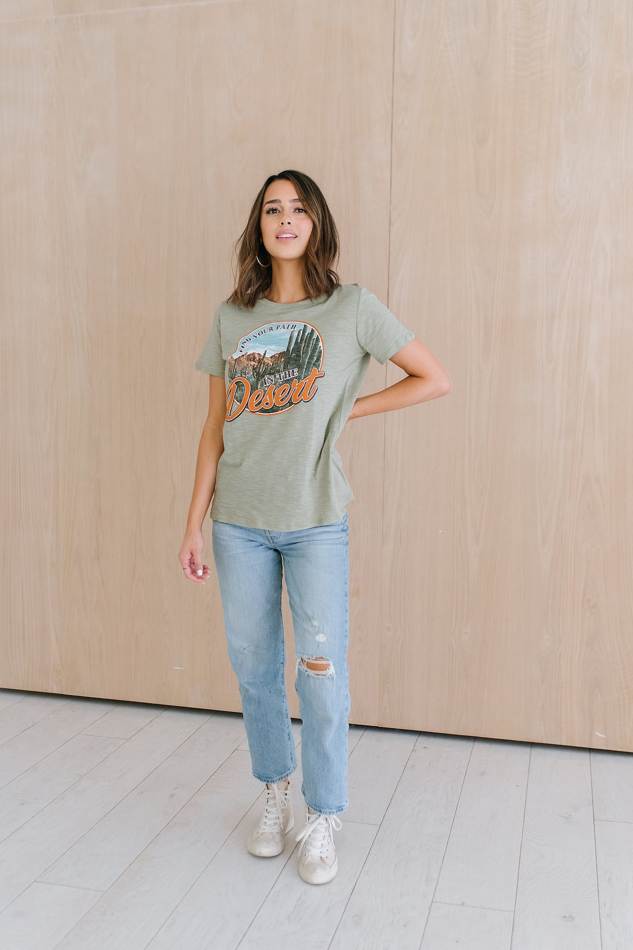 The Find Your Own Path Graphic Top in Olive