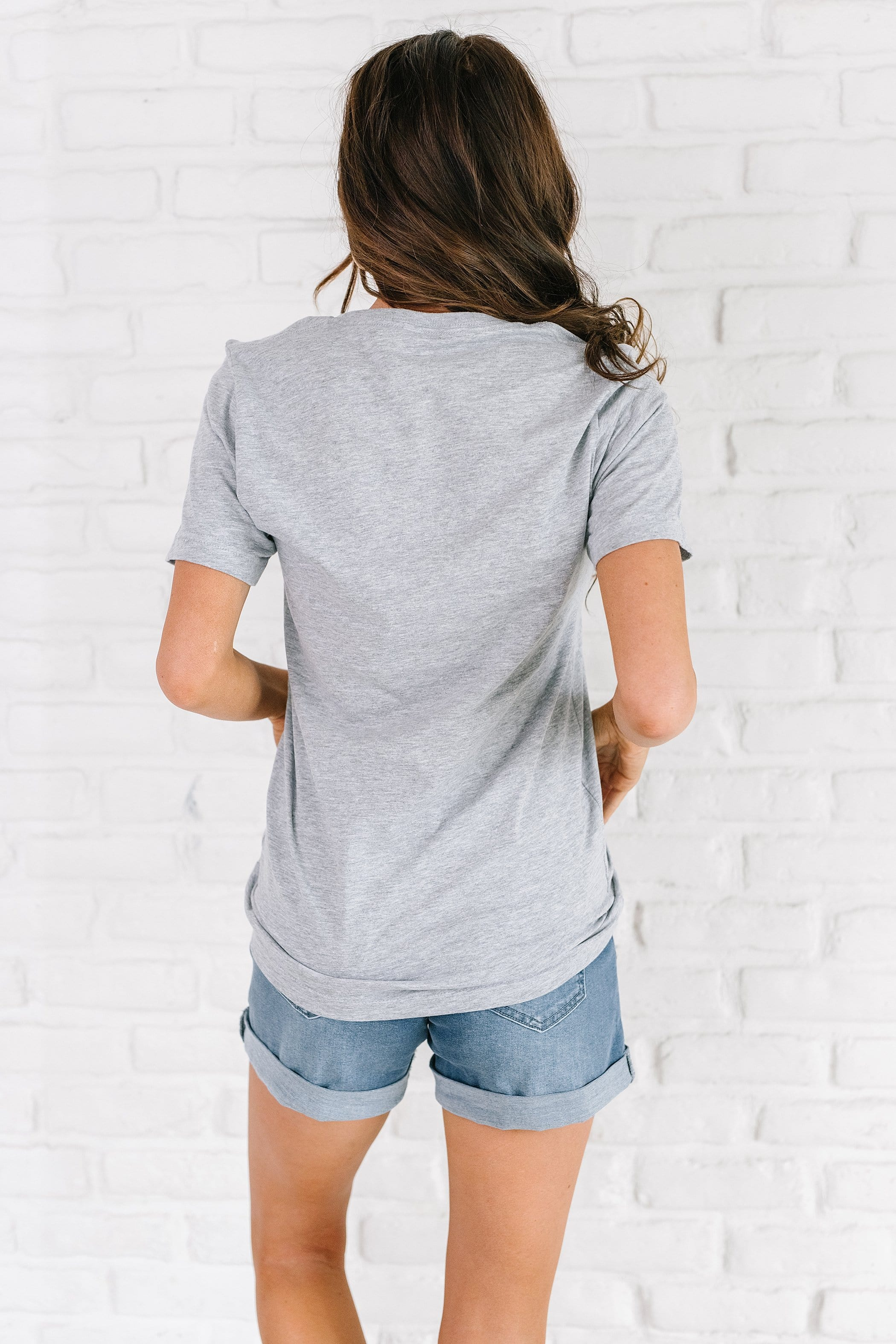 The Flag Lips Graphic Top in Heather Grey