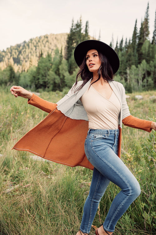 The Frances Color Block Cardigan in Rust