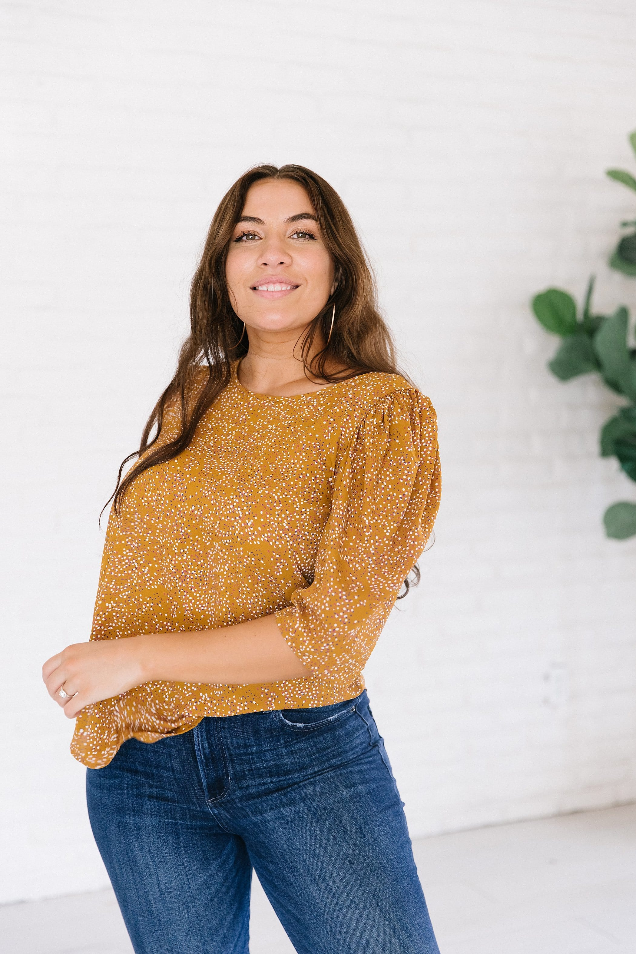 The Frazer Puffed Sleeve Dot Top in Honey