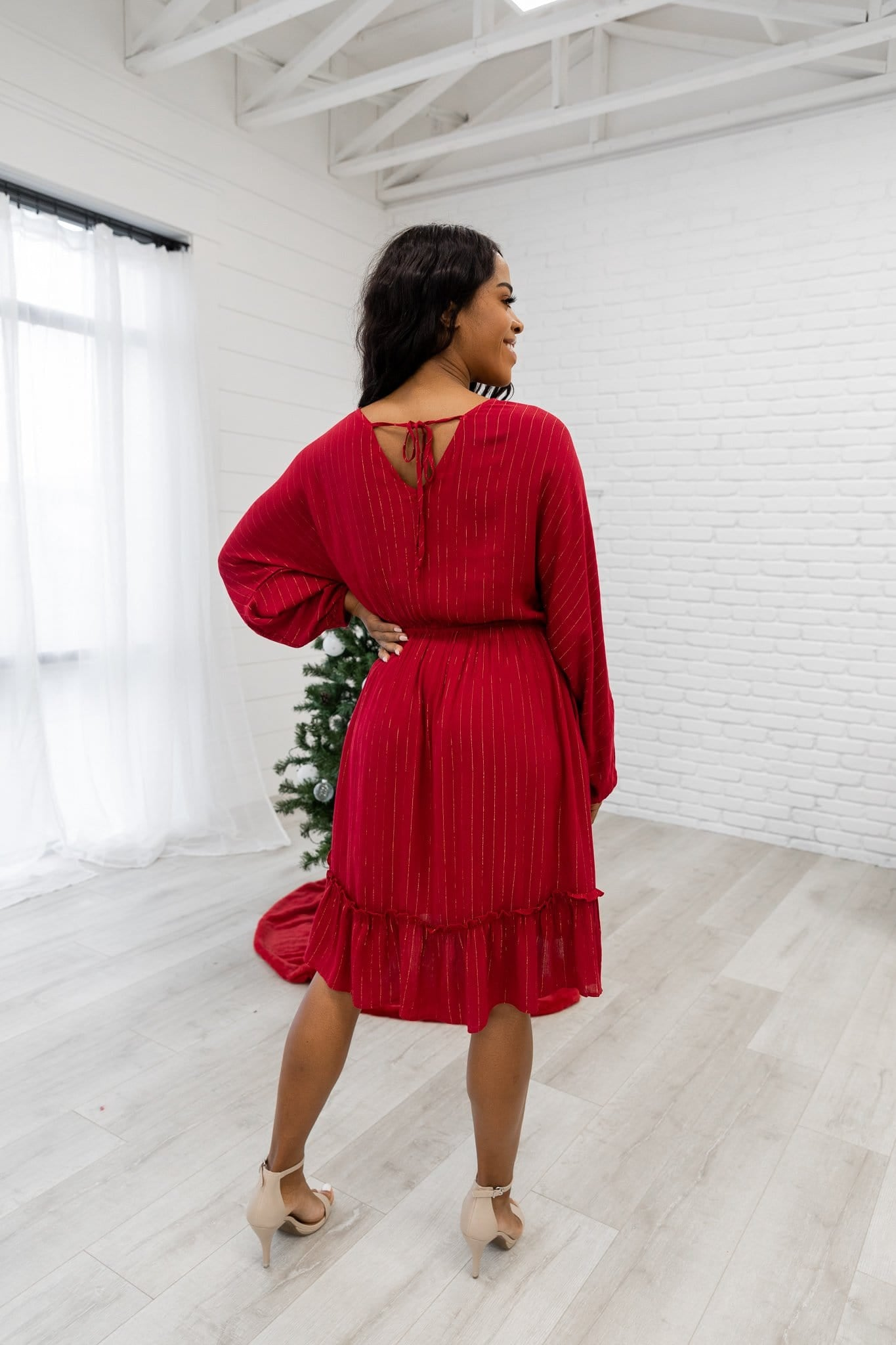 The Gable Midi Dress in Red