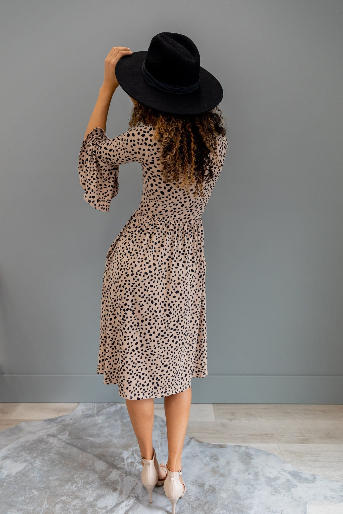 The Glenna Bell Sleeve Dress in Animal Print