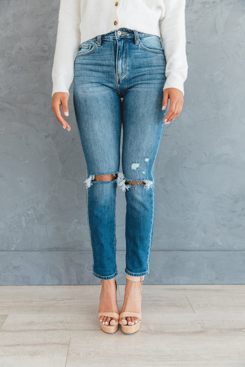 The Harley High Rise Straight Leg Jeans in Medium Wash