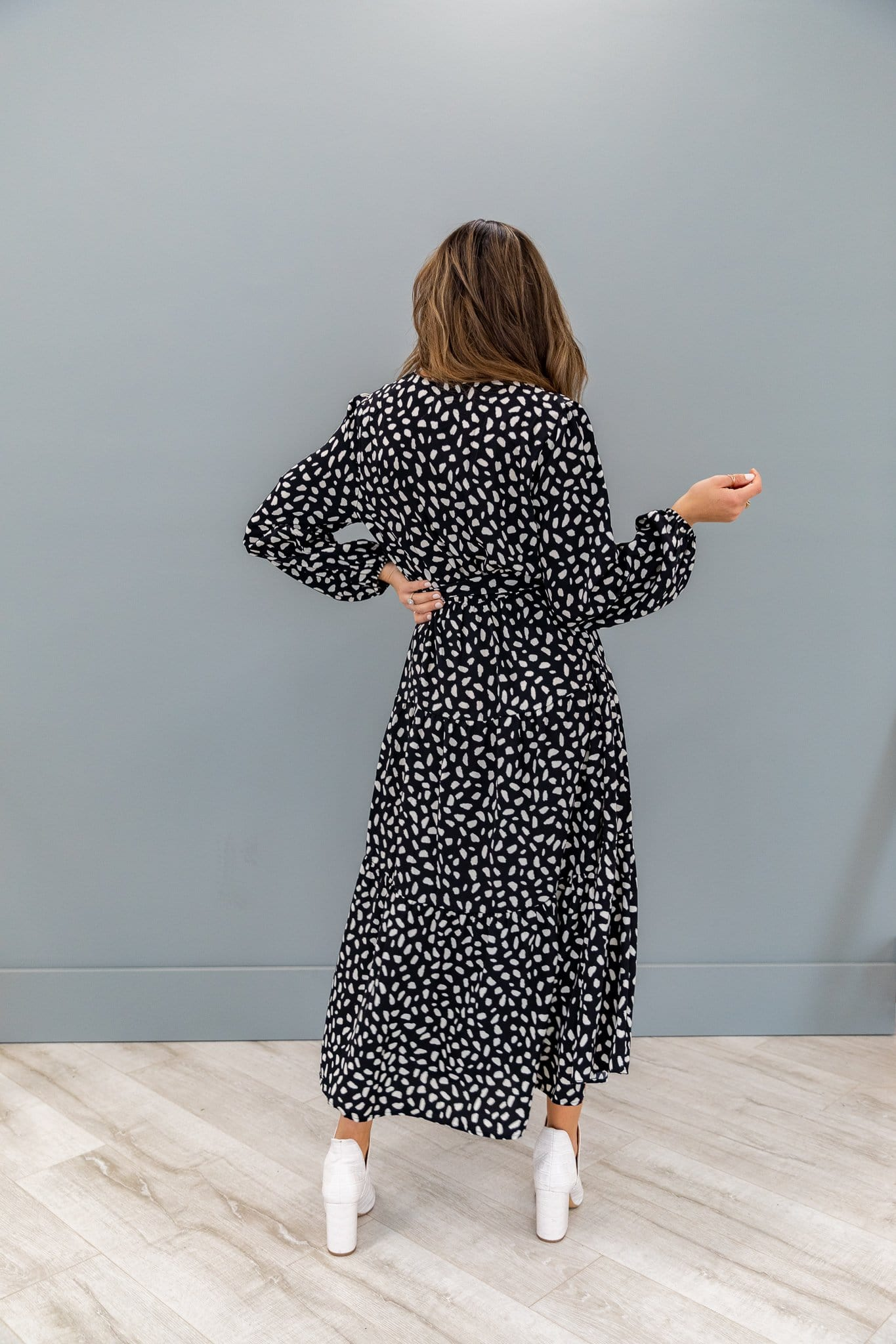 The Hartley Dotted Maxi Dress in Black