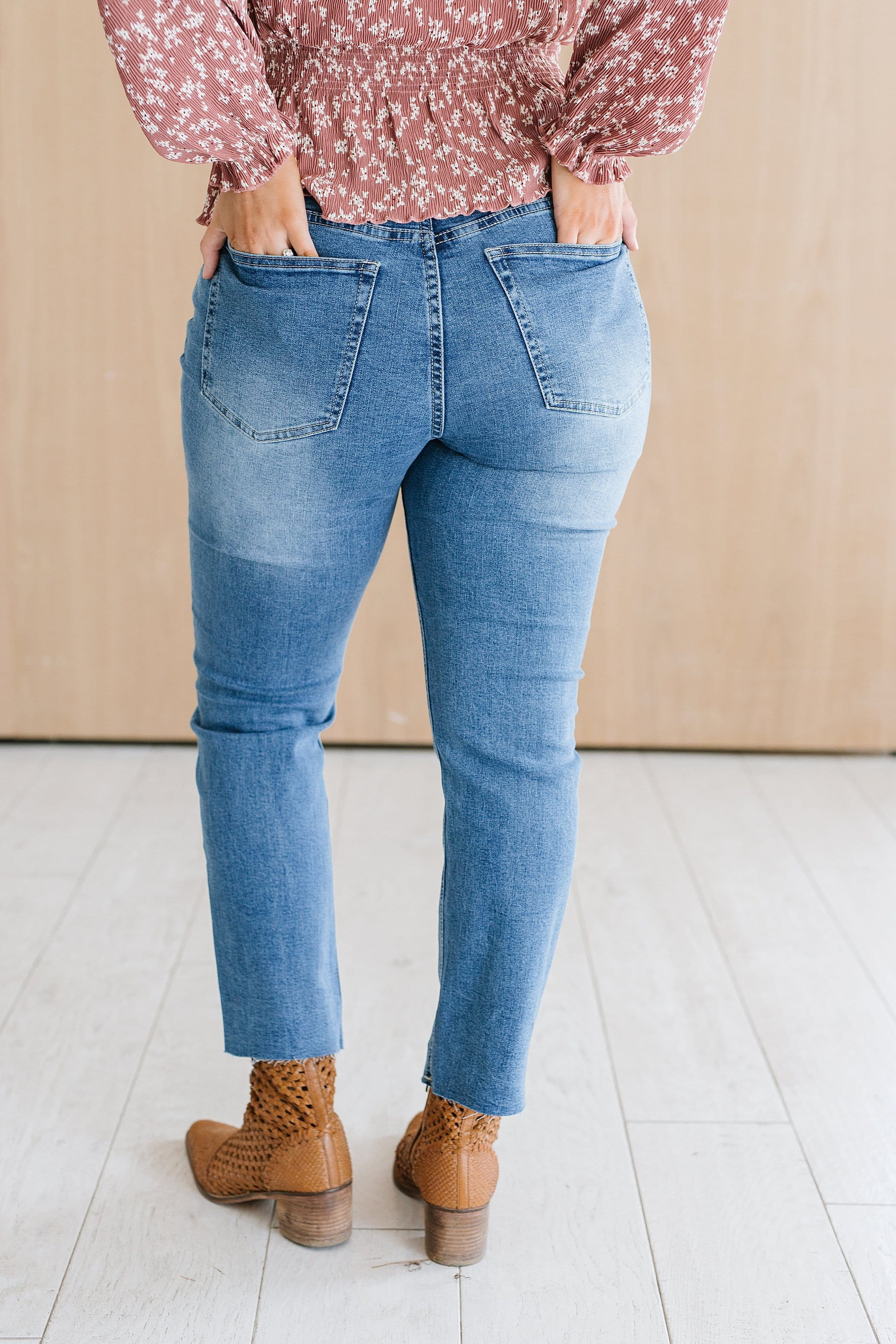The Haymond High Rise Straight Leg Jeans in Medium Wash