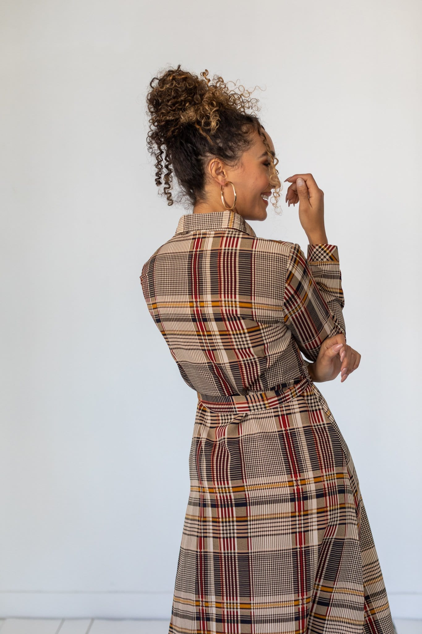 The Hendrix Plaid Button Down Dress in Multi