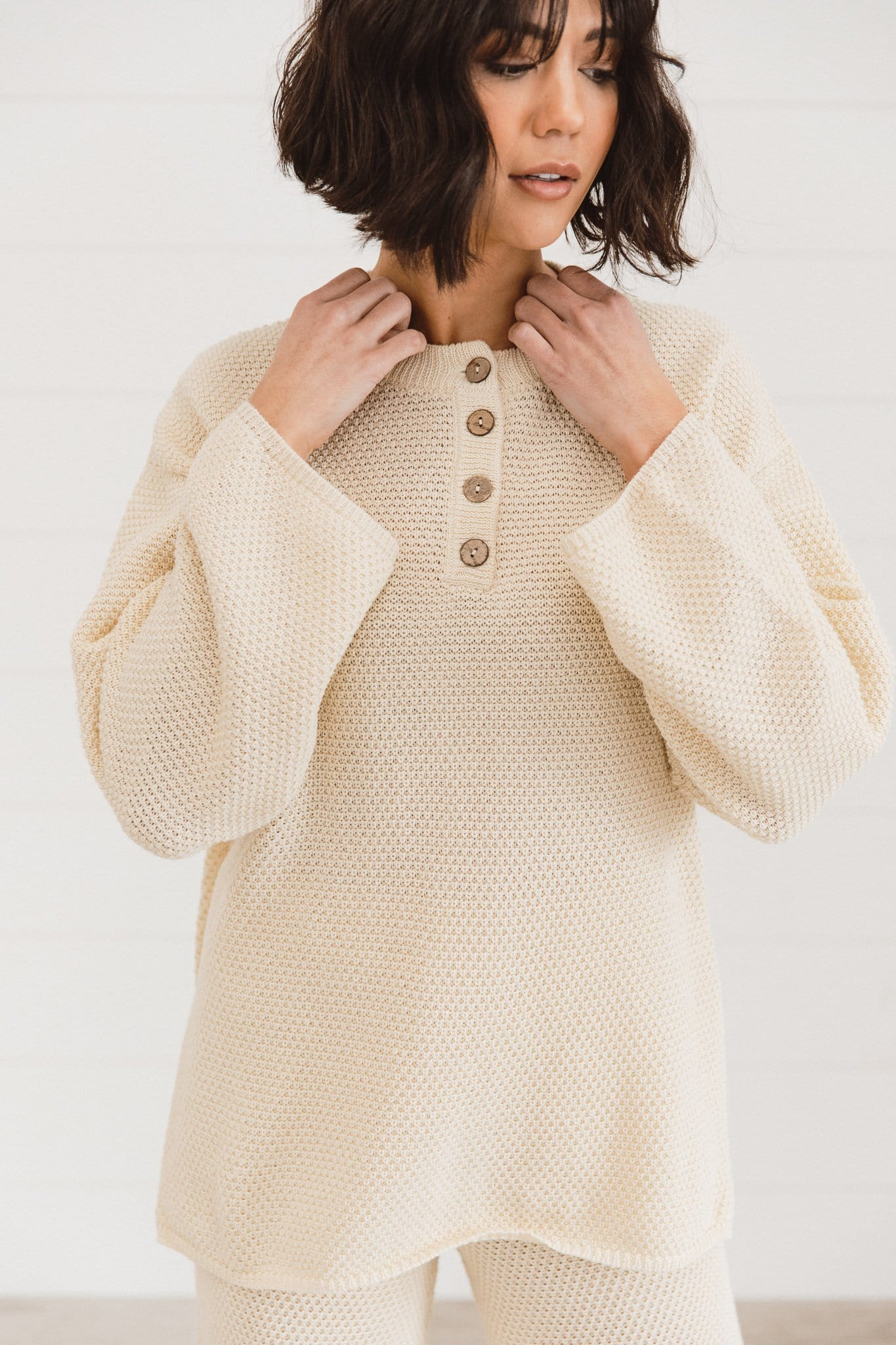 The Highland Sweater Lounge Set in Almond