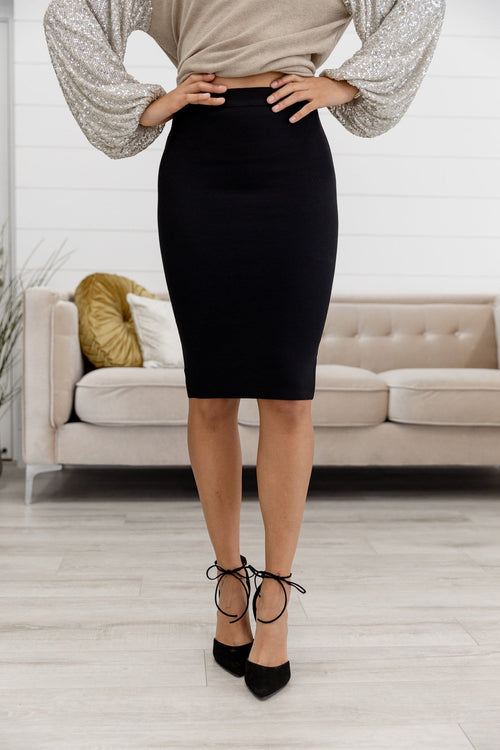 The Hillary Sweater Midi Skirt in Black and Taupe