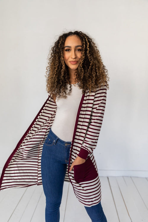 The Holly Striped Cardigan in Burgundy