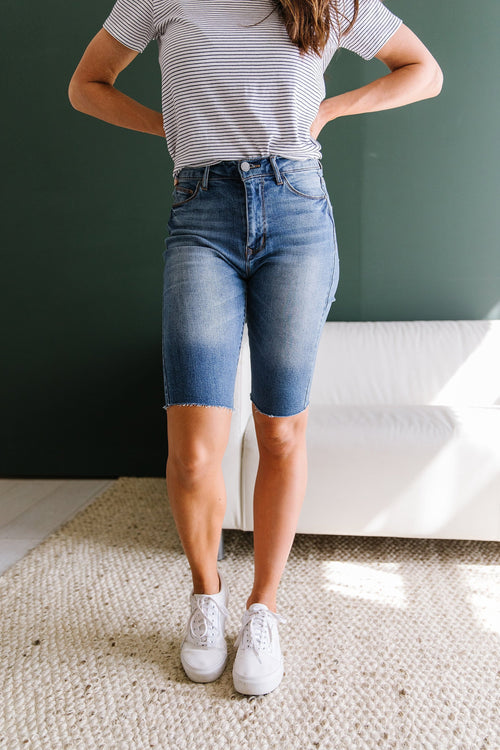 The Indy Bermuda Shorts in Denim, and White