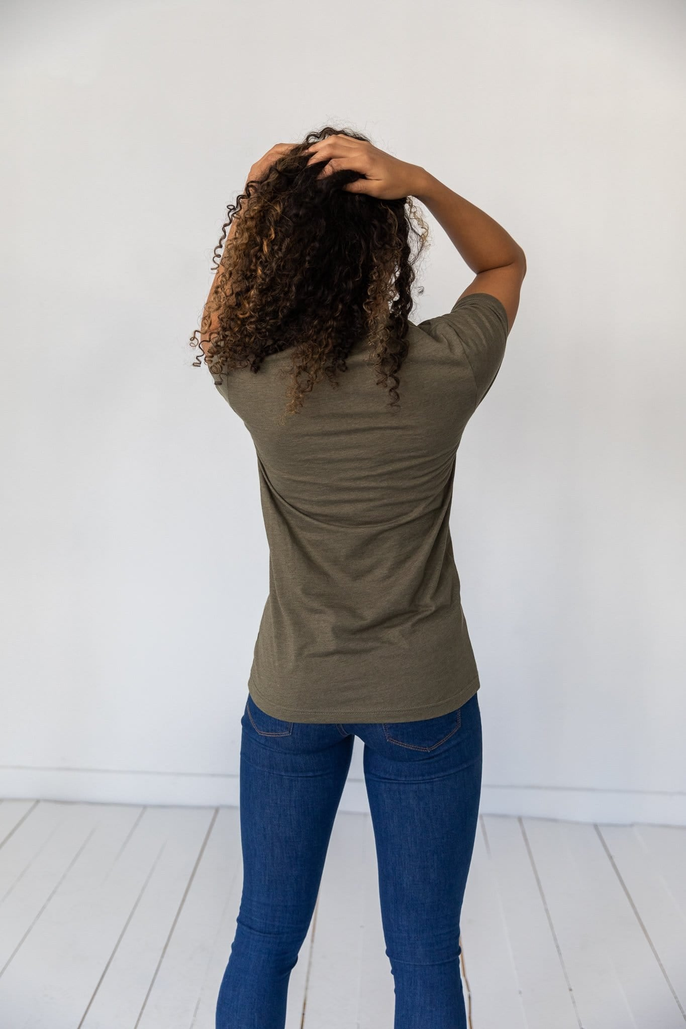 The It's Fine Graphic Top in Heather Olive