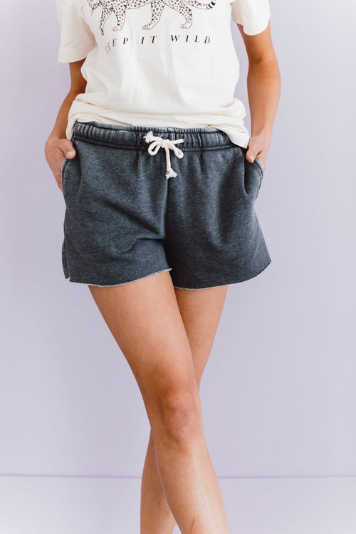 The Jackson Cut Off Shorts in Charcoal and Smoke Blue