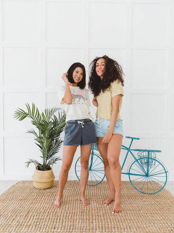 The Gretta Bermuda Shorts in Blue, Stone and Pink