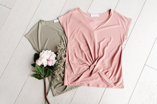The Jayda V Neck Twist Top in Moss and Rose
