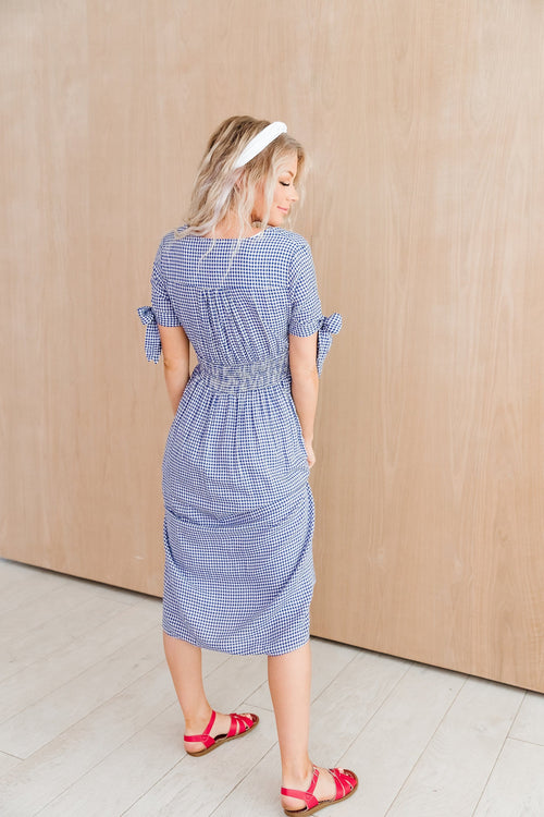 The Jenna Gingham Midi Dress in Blue and Red