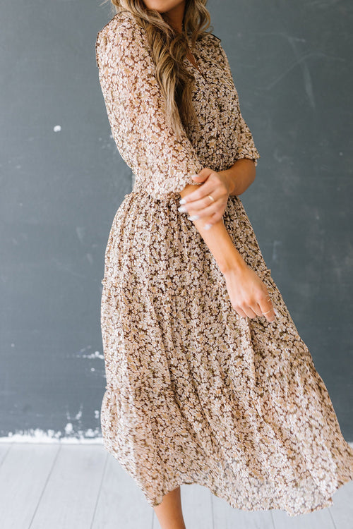 The Jessie Floral Midi Dress in Mocha