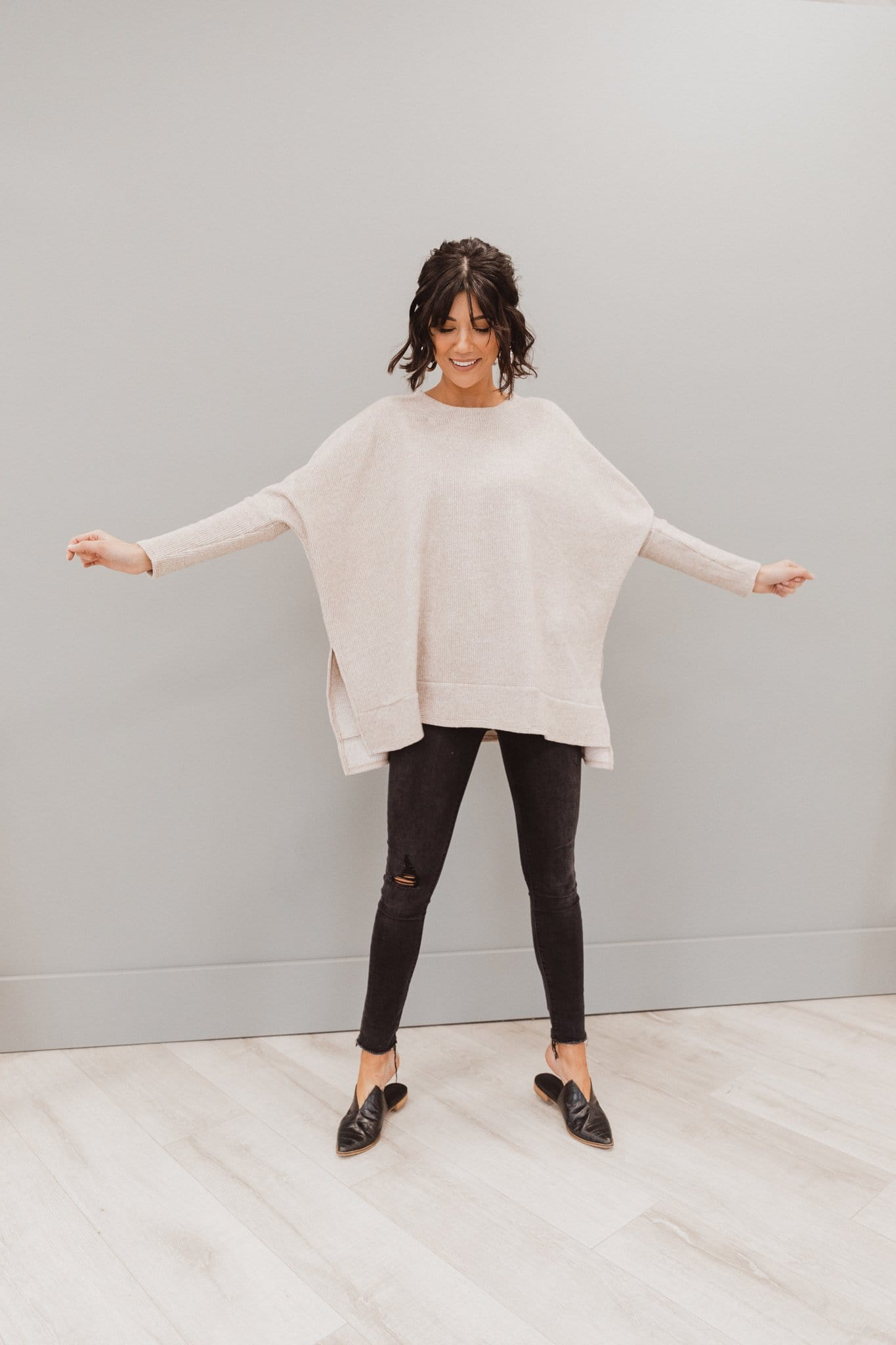 The Jillie Dolman Sleeve Top in Oatmeal