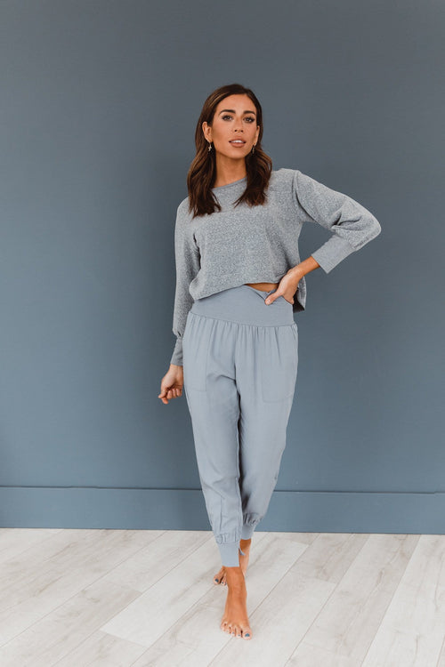 The Junie Relaxed Joggers in Slate Blue