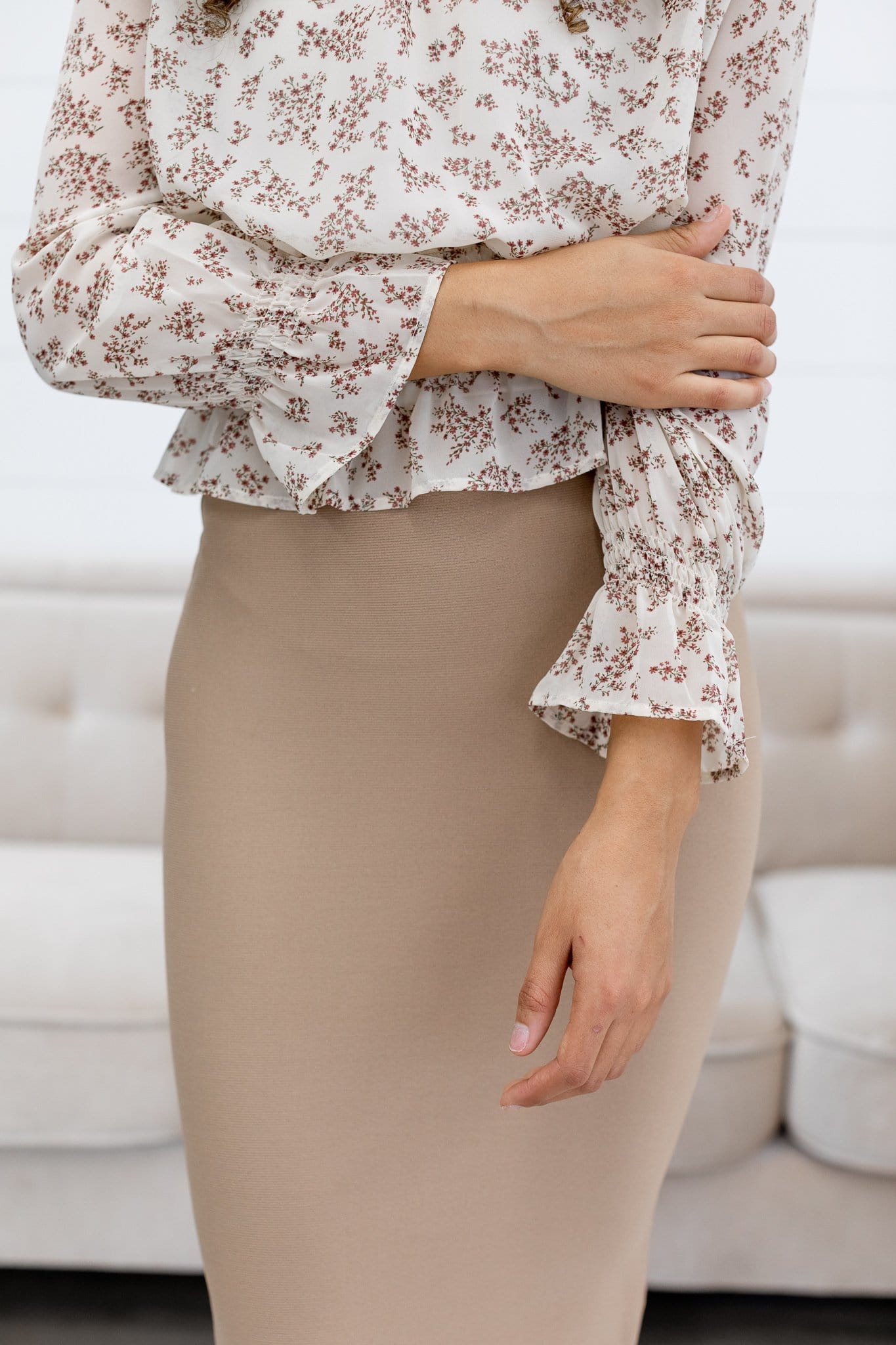The Kami Floral Smocked Top in Ivory
