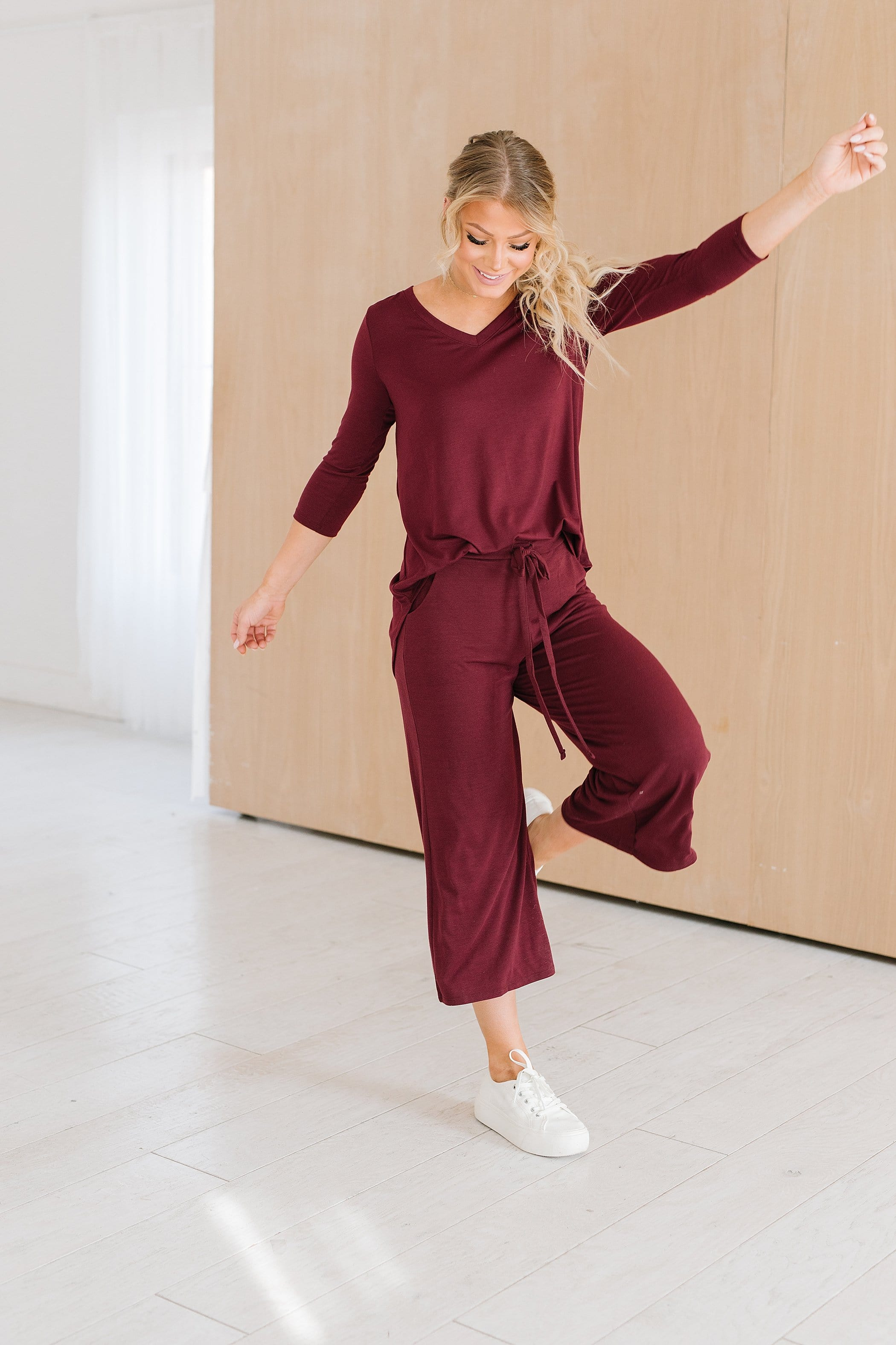 The Kaplan V Neck Lounge Set in Burgundy