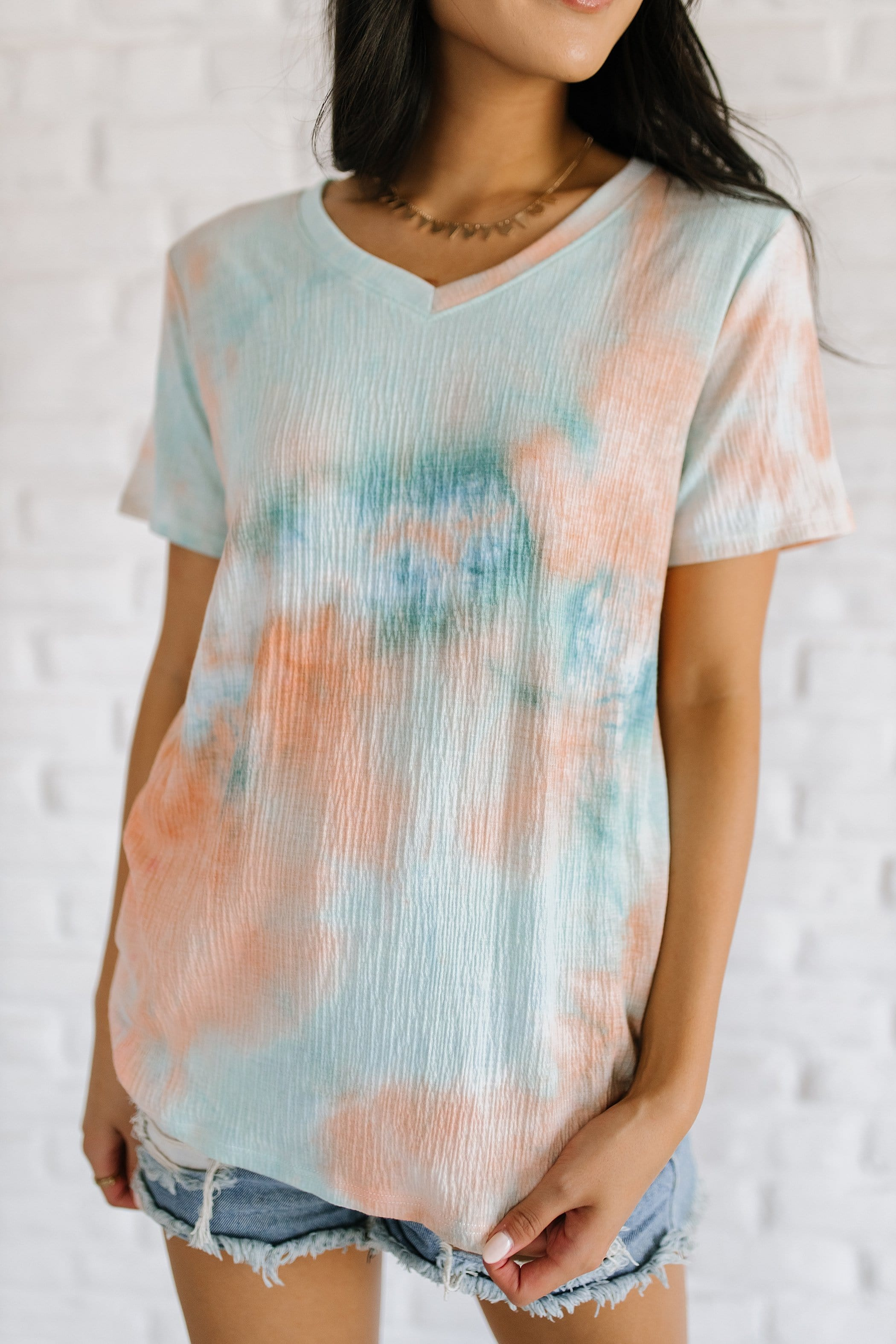 The Kaylie V Neck Tie Dye Top in Multi