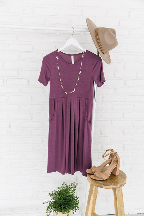 The Kelsey Pleated Dress in Black, Boysenberry and Lilac