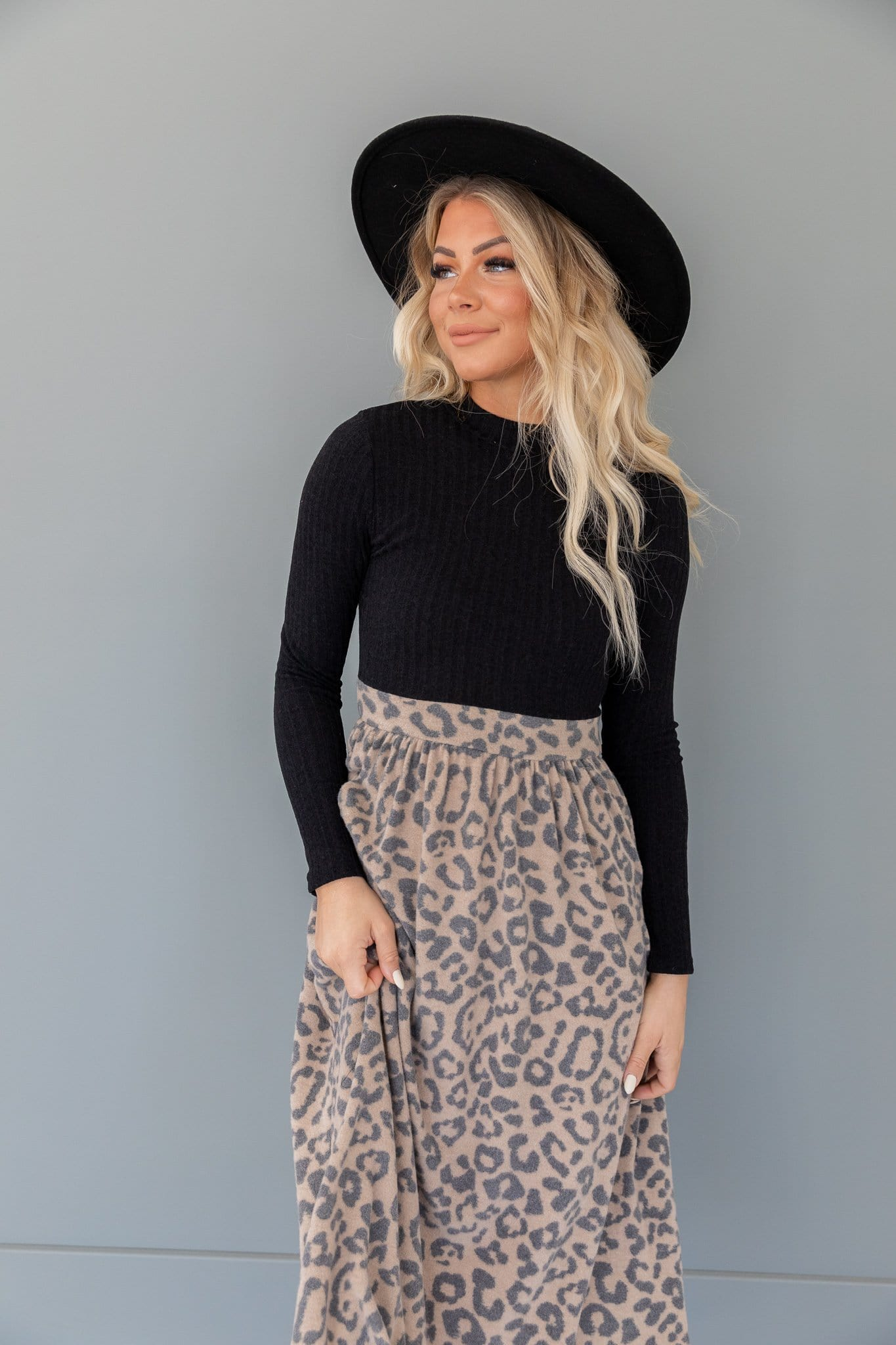 The Kendry Animal Print Dress in Black