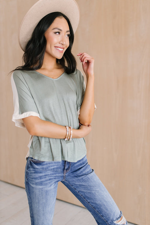 The Kenyon Two Tone Top in Sage