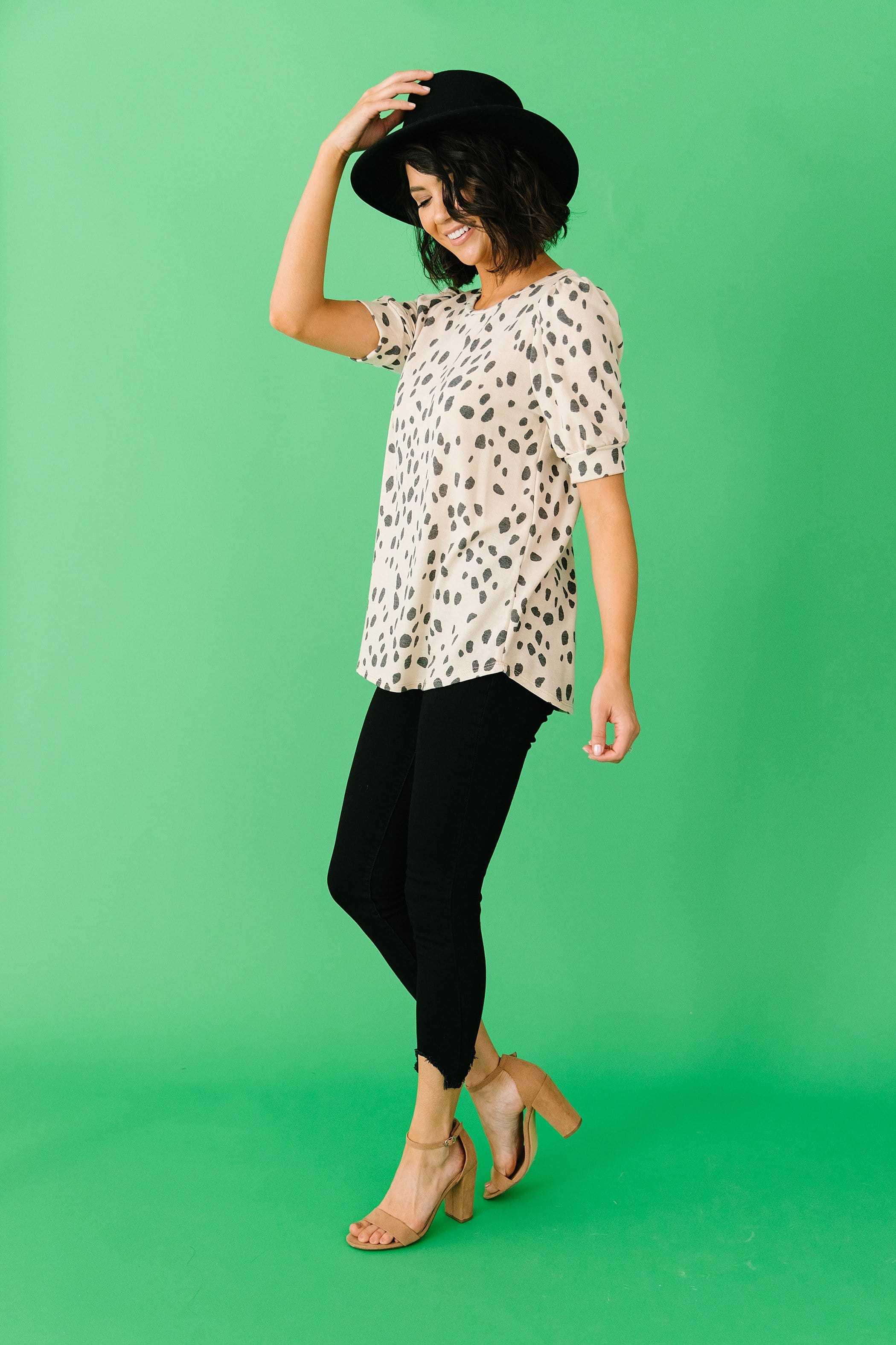 The Kiana Terry Top in Animal Print