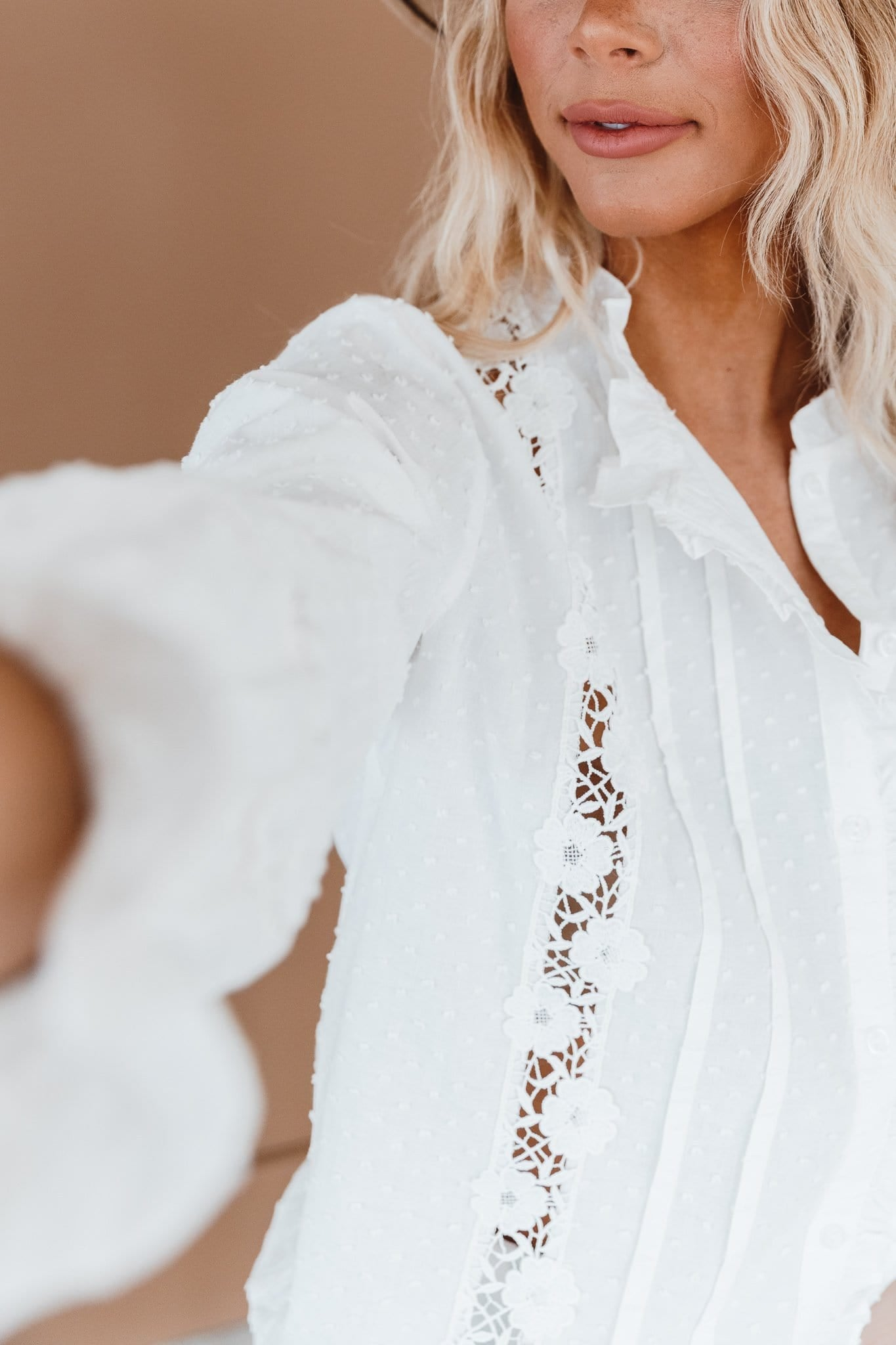 The Kora Swiss Dot Lace Top in White