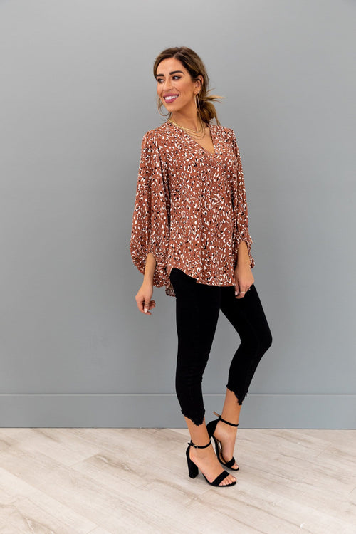 The Kristin Bubble Sleeve Top in Animal Print
