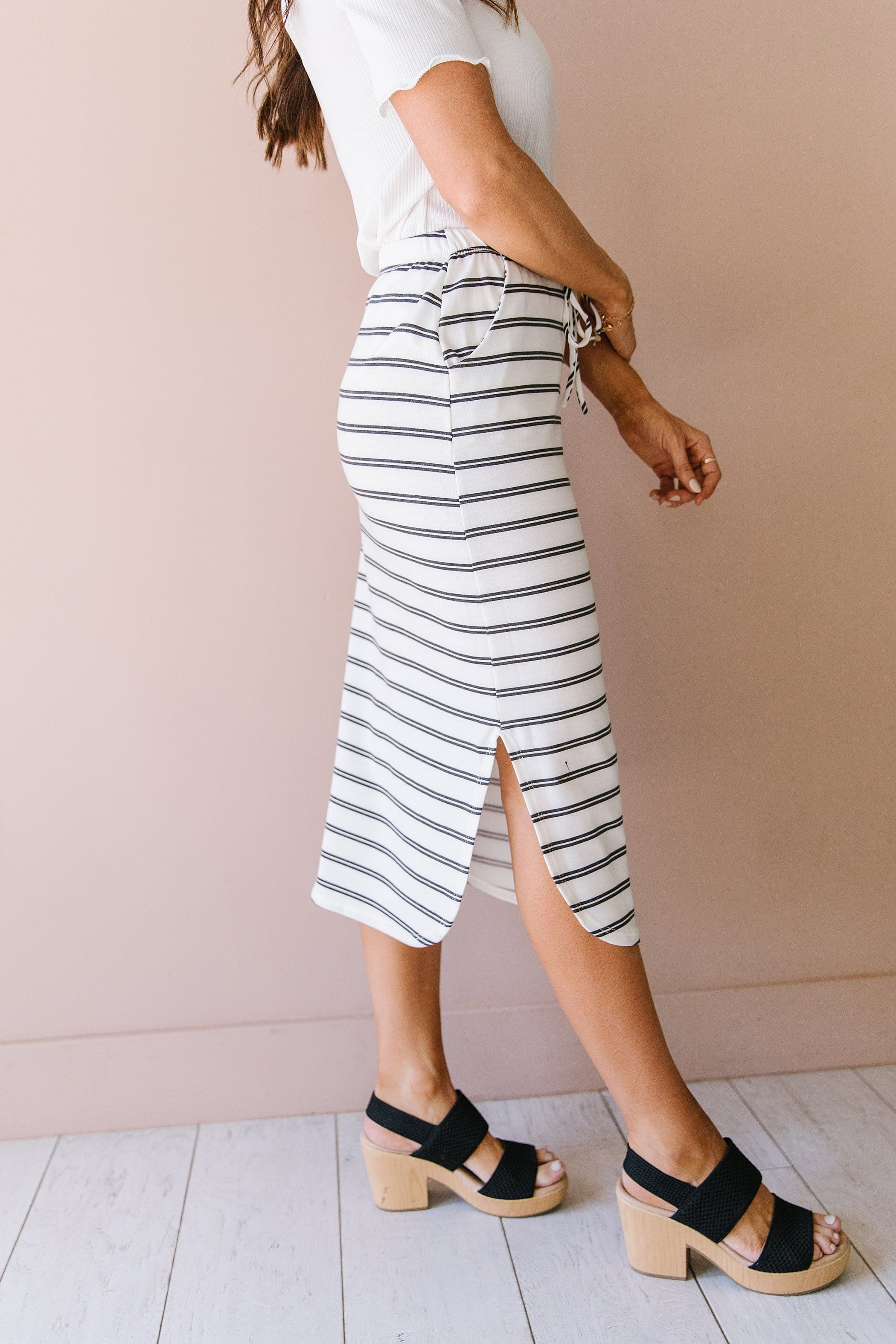 The Lakewood Striped Skirt in Blush and Ivory