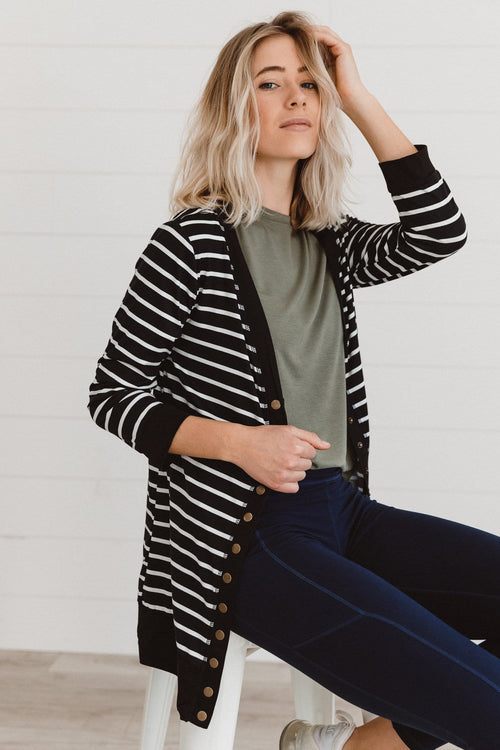The Lauren Stripe Cardigan in Black