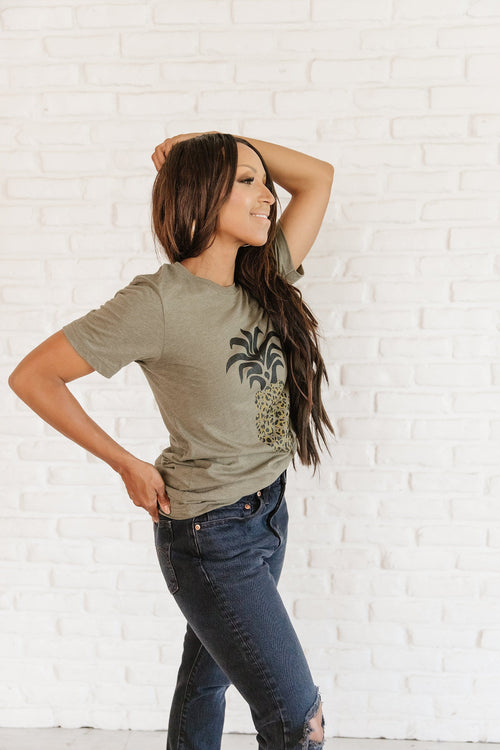 The Leopard Pineapple Top in Heather Olive