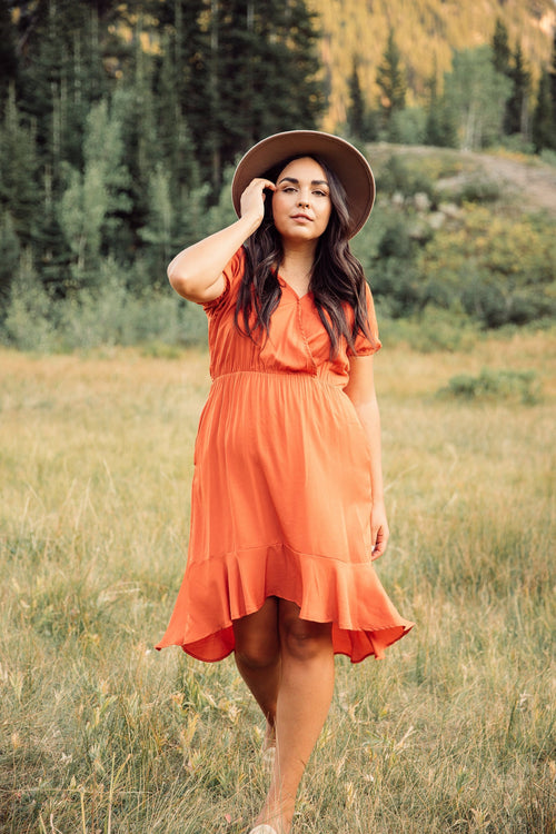 The Lilly Ruffled Dress in Tangerine