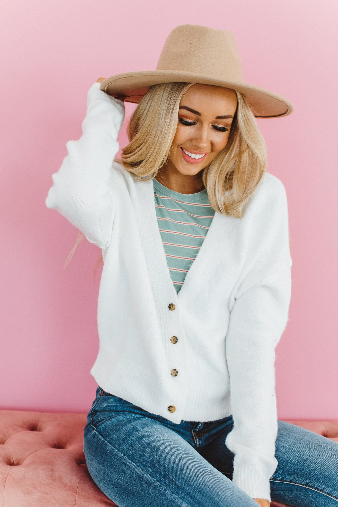 The Lindy Cardigan in Ivory