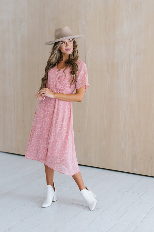 The Loman Speckled Midi Dress in Dusty Rose