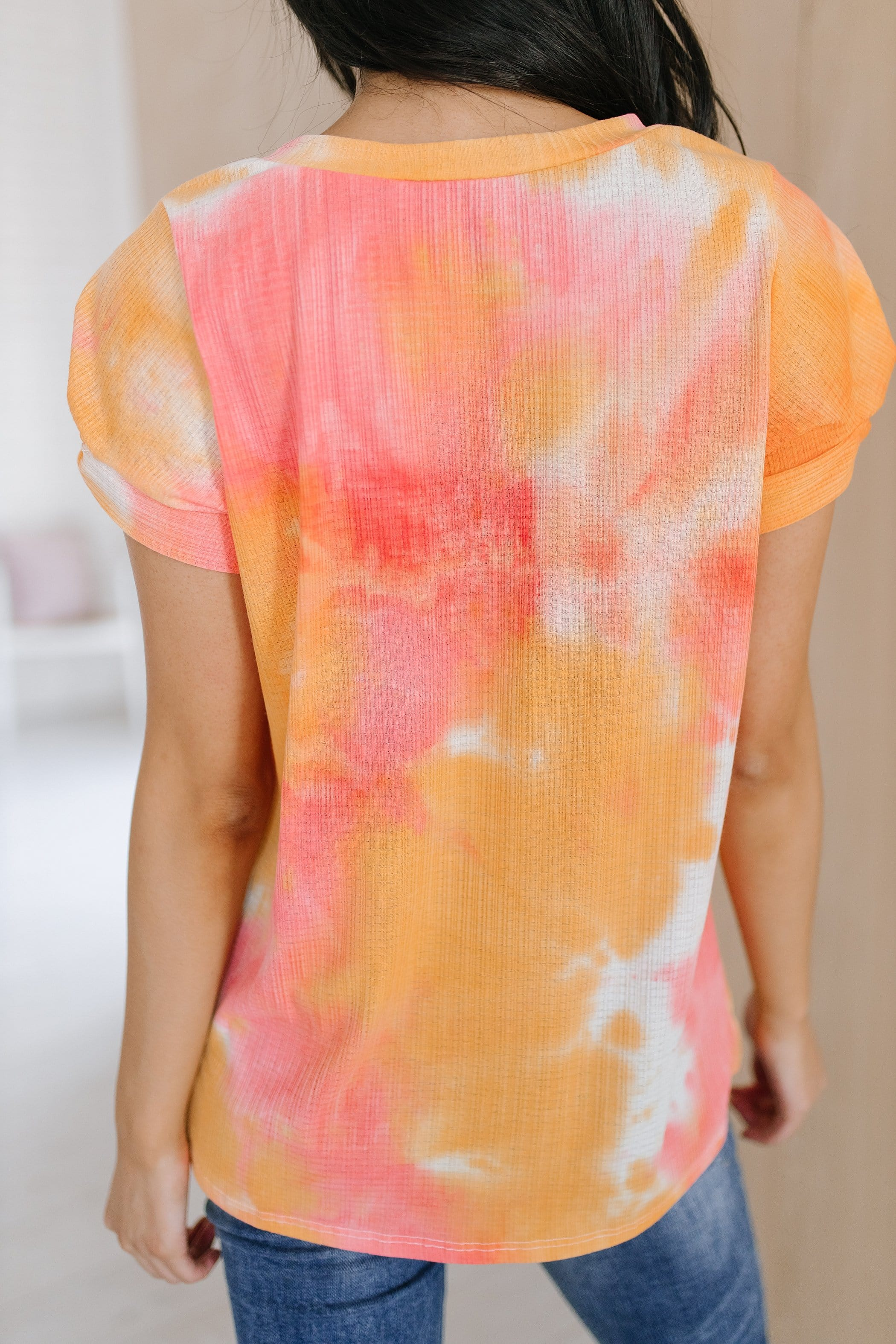 The Lora Knotted Sleeve Top in Tie Dye