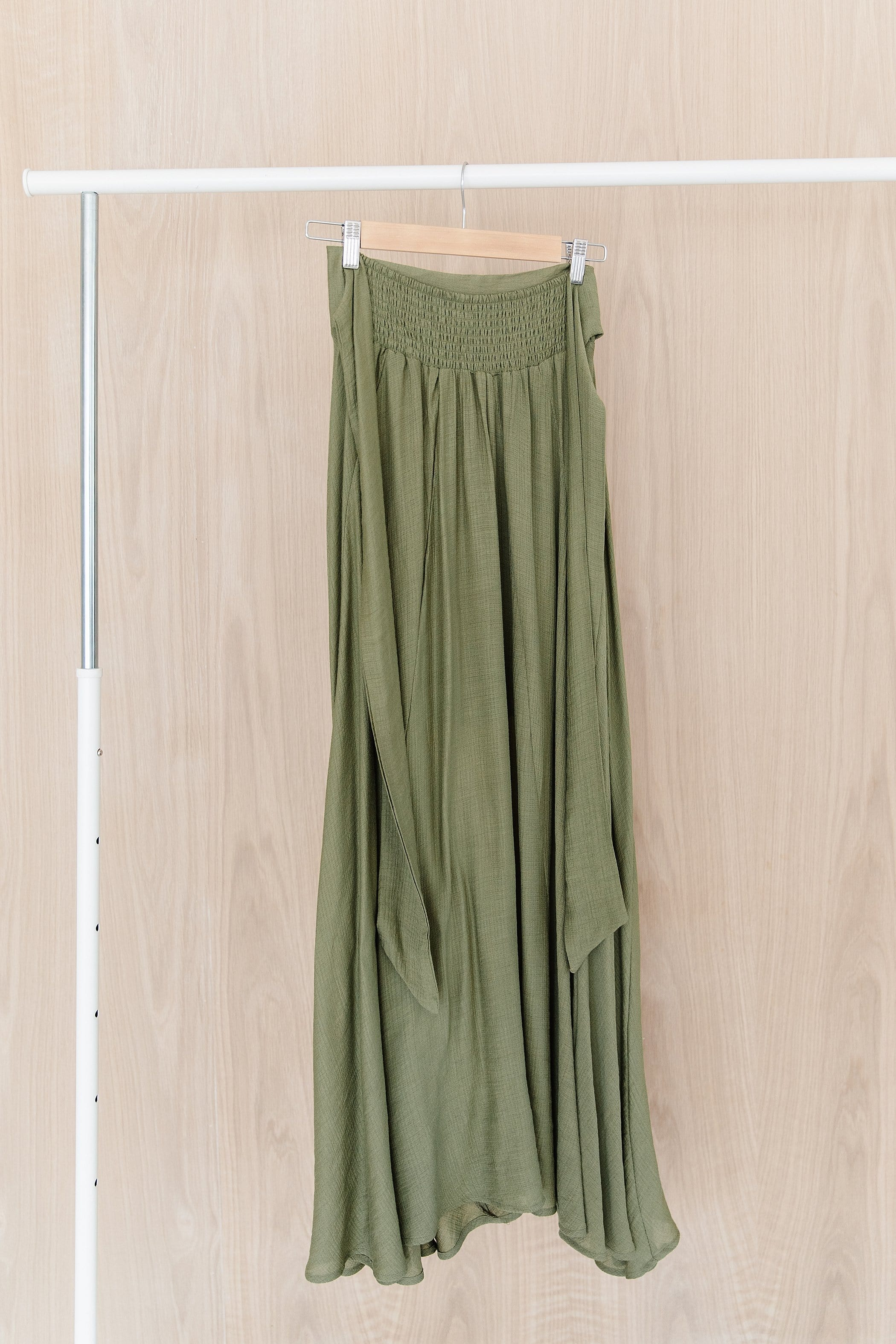 The Loren Tie Front Maxi Skirt in Black and Moss