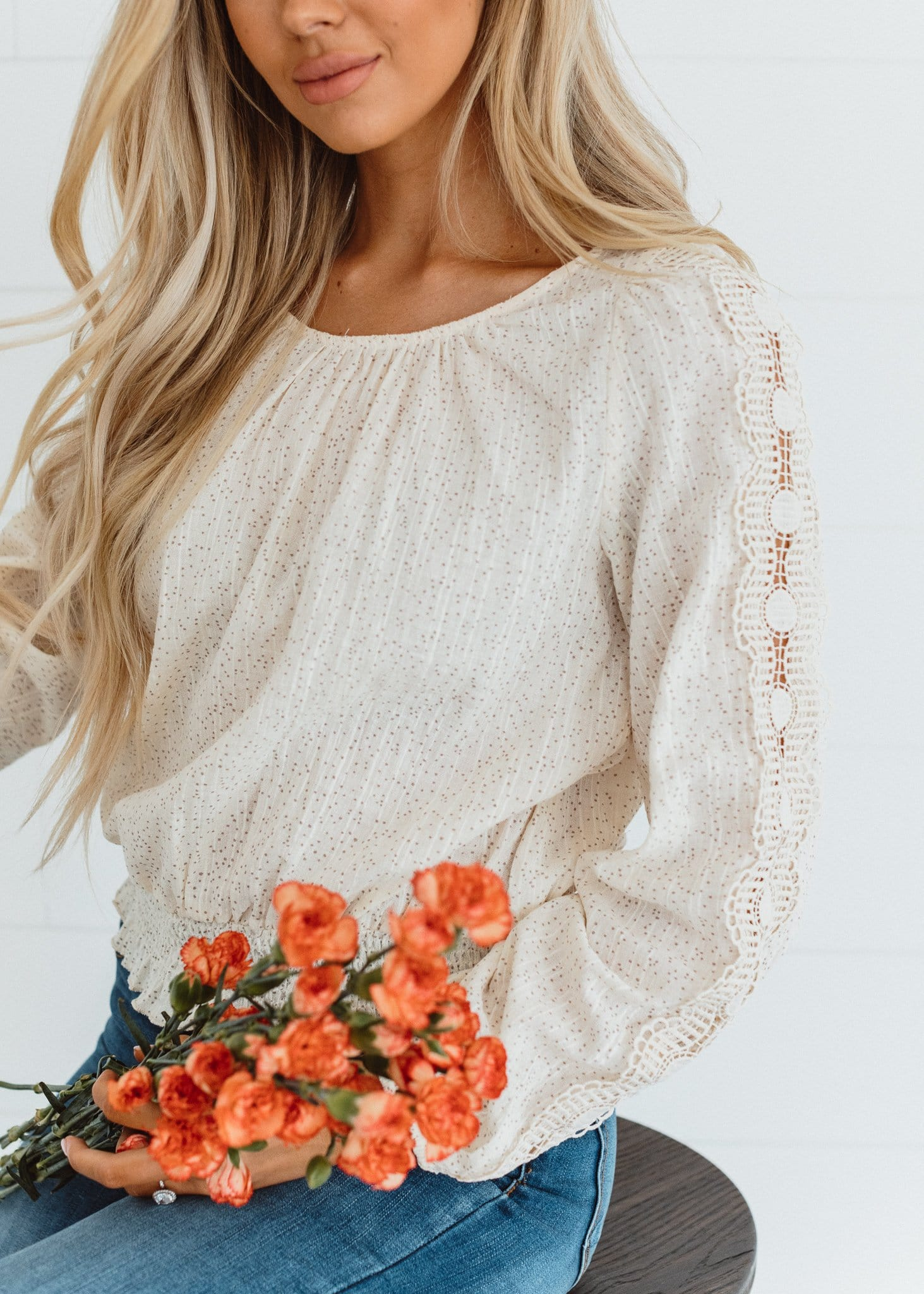 The Loretta Lace Sleeve Top in Cream