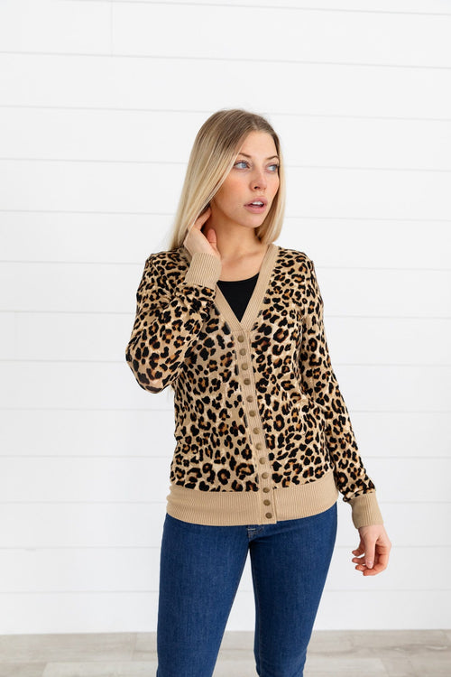 The Lucianna Snap Button Cardigan in Animal Print
